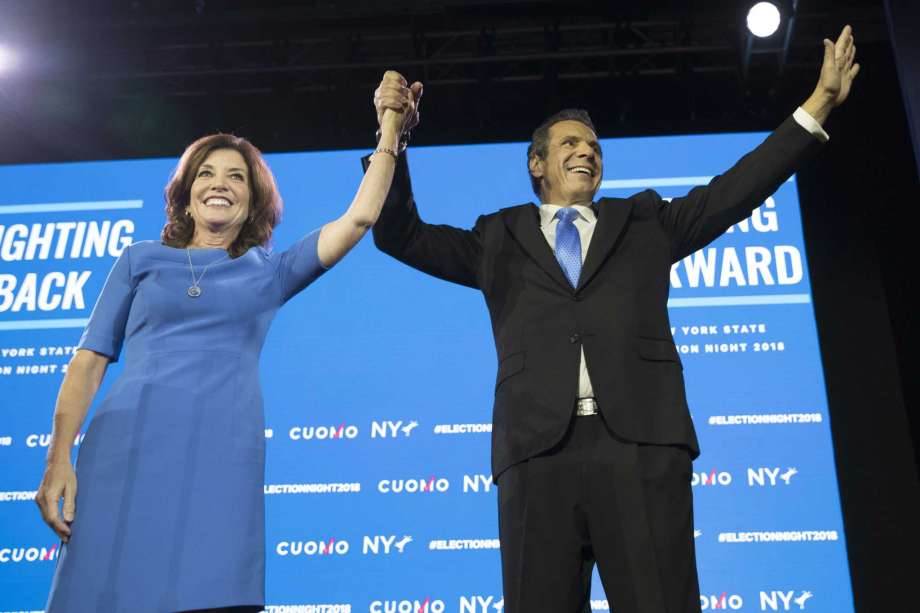 New York Gov. Andrew Cuomo, right, stands with Lieutenant Governor Kathy Hochul during an an election night watch party hosted by the New York State Democratic Committee, Tuesday, Nov. 6, 2018, in New York. (AP Photo/Mary Altaffer) Photo: Mary Altaffer / Copyright 2018 The Associated Press. All rights reserved.