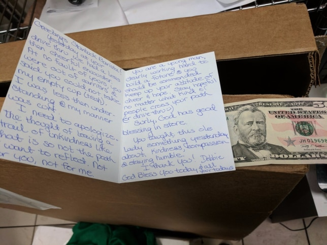 A woman returned to a Starbucks drive-thru with an apology note and a $50 tip after she snapped at a barista.