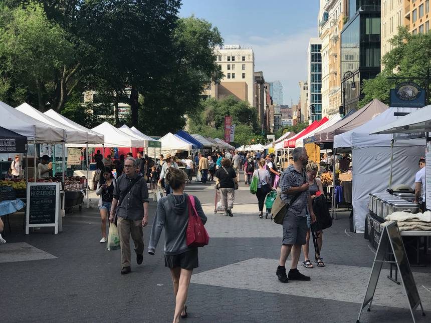 Older people love farmers markets like Union Square in New York. (Photo: Lloyd Alter)