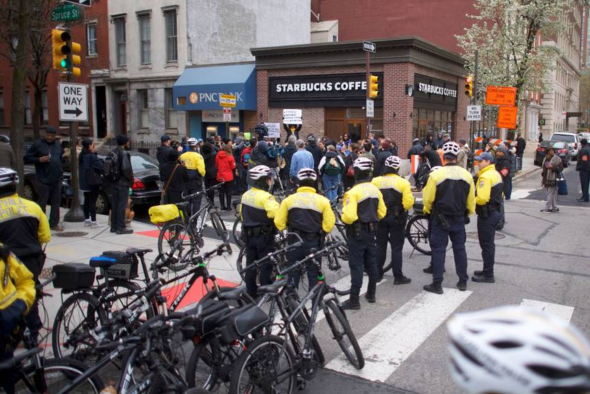 Protest at Starbucks in Philadelphia. (Photo: Mark Makela/Getty Images)