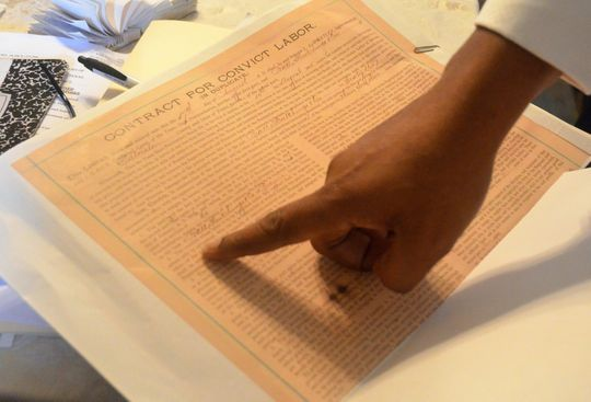 """A contract for convict labor, used during the convict leasing system that forced thousands of African Americans to work as forced labor after slavery ended, asks for """"Negro workers."""""""
