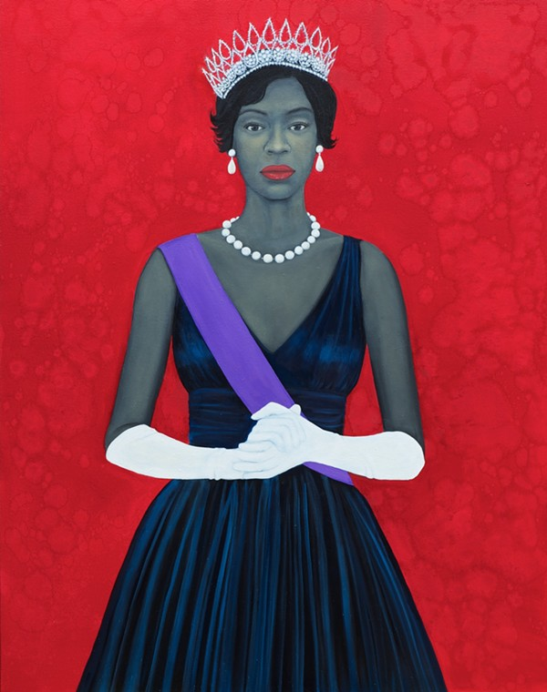"Amy Sherald's ""Wellfare Queen."" 2012, 54 by 43 inches, oil on canvas. Collection of Dr. Imani Perry, courtesy Monique Meloche Gallery."