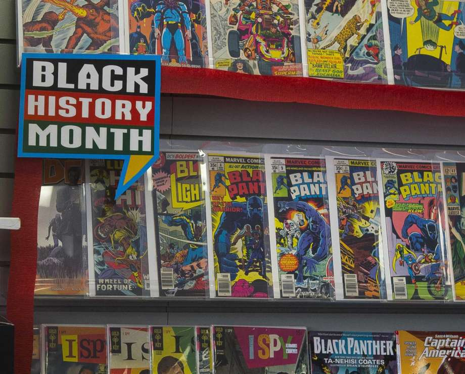 """Selected comics, including Black Panther titles, were on display in 2018 Black History Month at Bedrock City Comic Company in Houston. AMC Theaters kicked off Black History Month 2019 by offering free screenings of the """"Black Panther"""" film from Feb. 1-7. The film is nominated for seven Academy Awards, including Best Picture and Best Costume Design. Photo: Mark Mulligan, Houston Chronicle / Houston Chronicle / © 2018 Houston Chronicle"""
