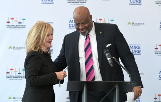 National Museum of African American Music CEO H. Beecher Hicks introduces U.S. Senator Marsha Blackburn during an announcement at Nashville Visitor's Center at Bridgestone Arena on Tuesday, Feb. 19, 2019.