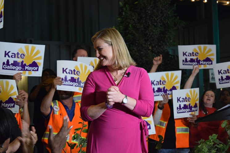 Supporters cheer on Kate Gallego at a get-out-the-vote rally on March 7 in downtown Phoenix.