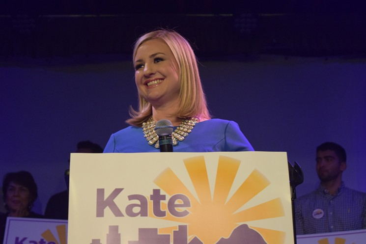 Kate Gallego declares victory in the mayoral race at a Crescent Ballroom party on March 12.