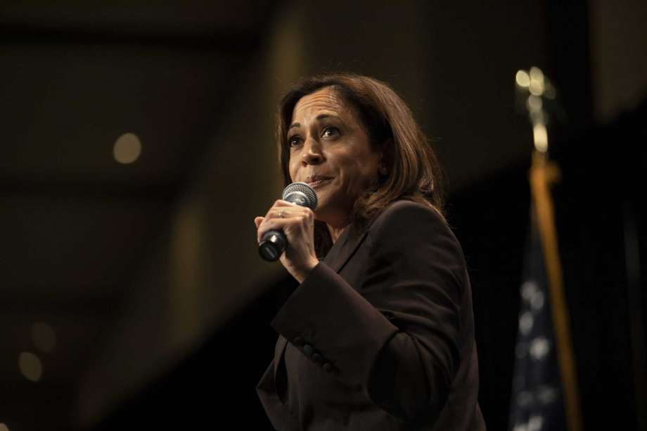 Senator Kamala Harris, a Democrat from California and 2020 presidential candidate, speaks during an Iowa Democratic Party Hall of Fame event in Cedar Rapids, Iowa, on June 9, 2019. Photo: Bloomberg Photo By Daniel Acker / © 2019 Bloomberg Finance LP