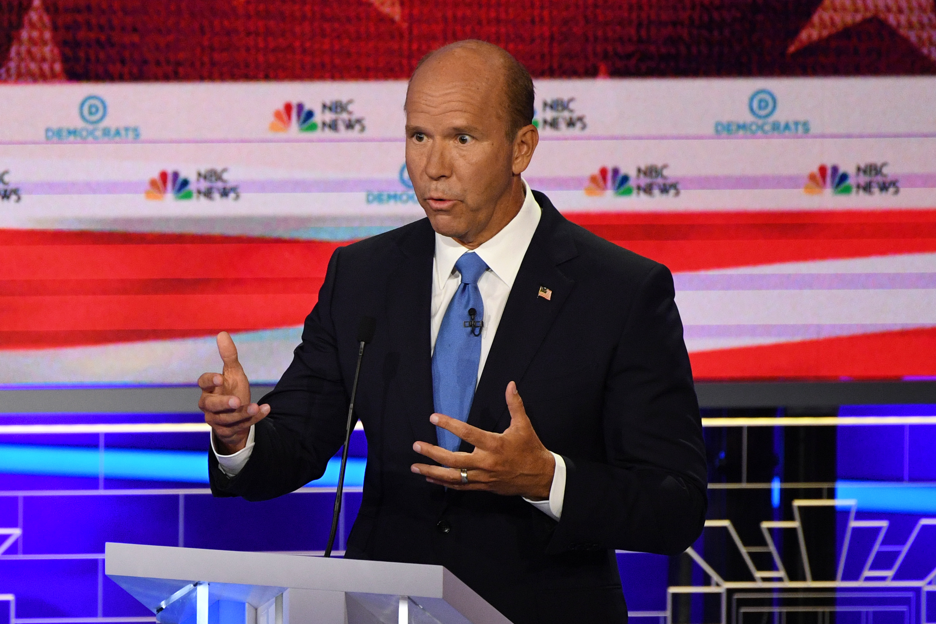Former US Representative for Maryland John Delaney speaks during the first Democratic primary debate of the 2020 presidential campaign at the Adrienne Arsht Center for the Performing Arts in Miami, June 26, 2019.