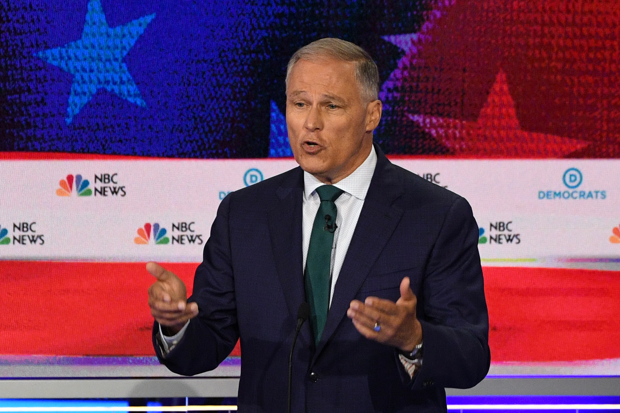 Democratic presidential hopeful Governor of Washington Jay Inslee speaks during the first Democratic primary debate of the 2020 presidential campaign at the Adrienne Arsht Center for the Performing Arts in Miami, June 26, 2019.
