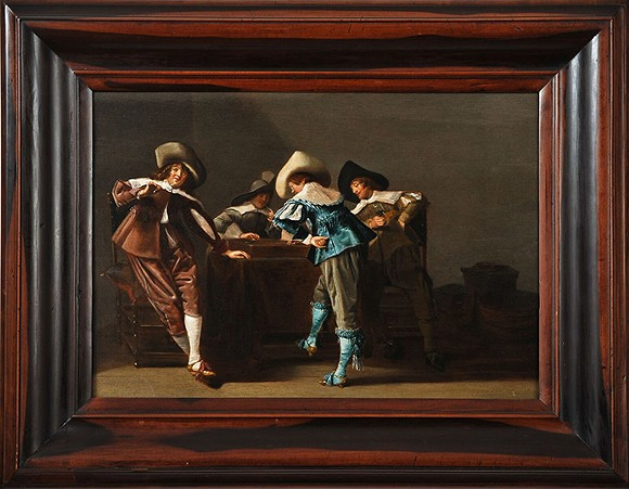"""Dirck Hals, """"An Elegant Company Playing a Game of Trictrac in an Interior,"""" ca. 1650, oil on panel. Donated in memory of Robert G. Scully."""