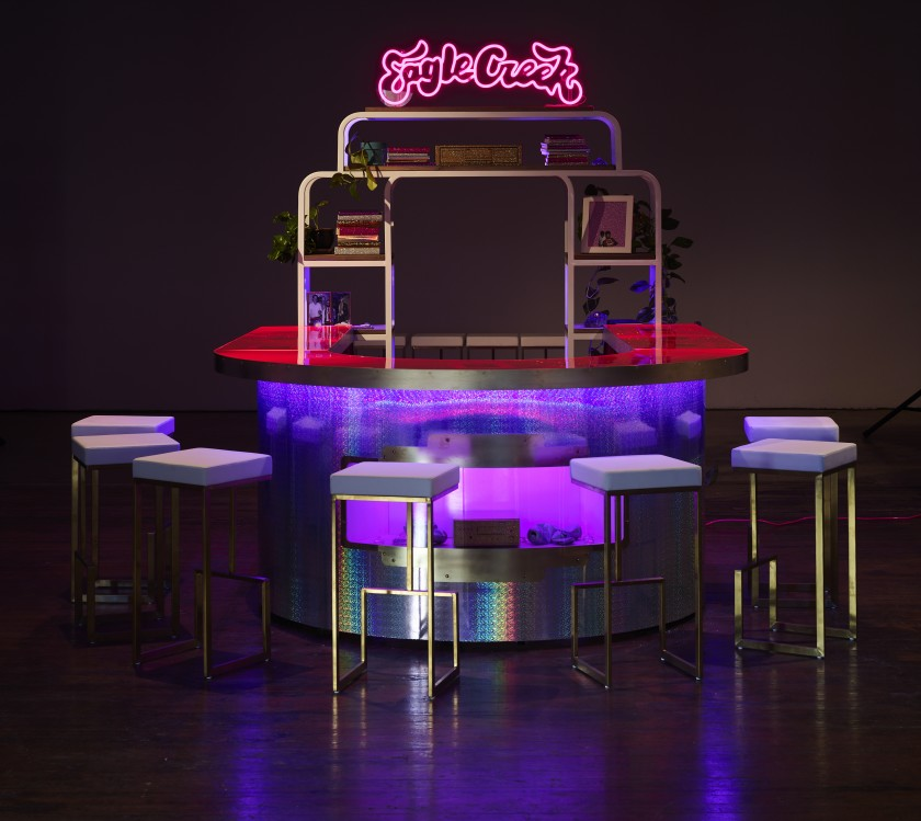 """An installation view of Sadie Barnette's """"The New Eagle Creek Saloon."""""""