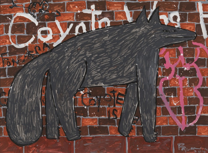 """""""Coyote on the Streets,"""" 1994, by Harry Fonseca at the Autry."""