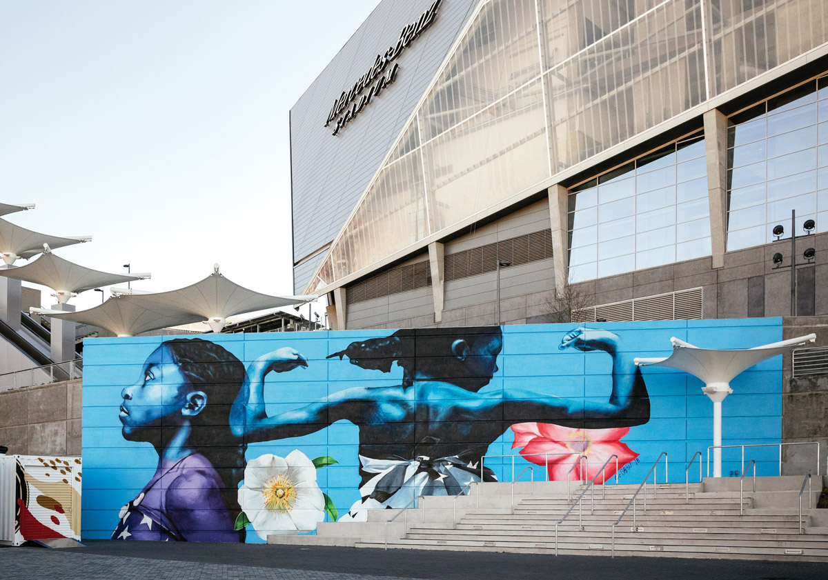 Atlanta Strong mural in front of Mercedes Benz Stadium