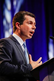 Presidential candidate and Mayor of South Bend Ind., Pete Buttigieg, speaks during the National Urban League Conference in Indianapolis on Friday, July 26, 2019.