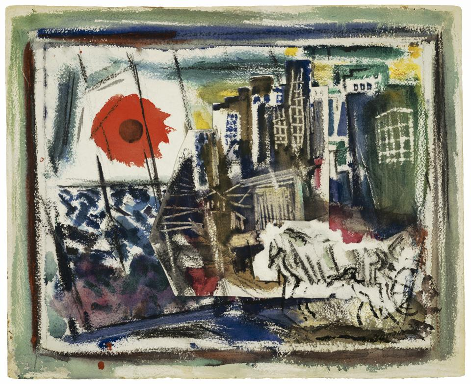 John Marin (1870–1953), 'From the Bridge, N.Y.C.,' 1933. Watercolor with charcoal and collage on paper.