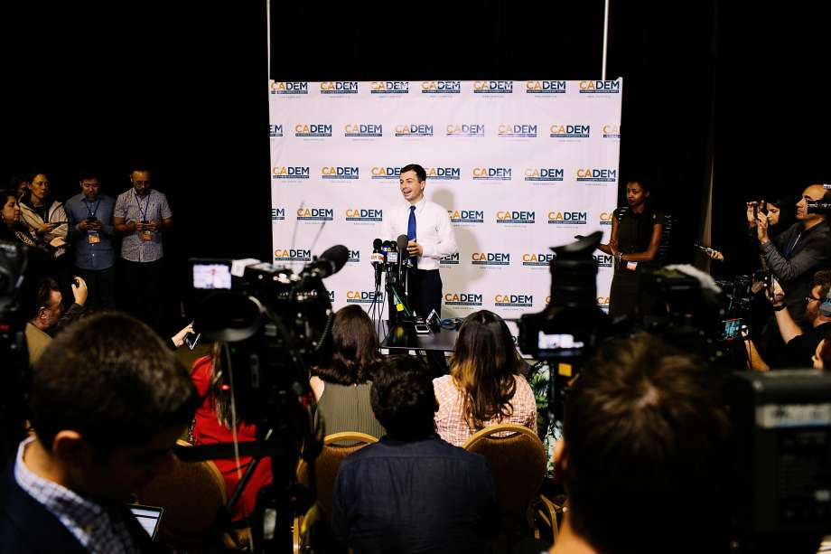 Pete Buttigieg speaks to members of the media in Long Beach. The candidate leads the Iowa polls but is fifth in California. Photo: Kendrick Brinson / Special To The Chronicle