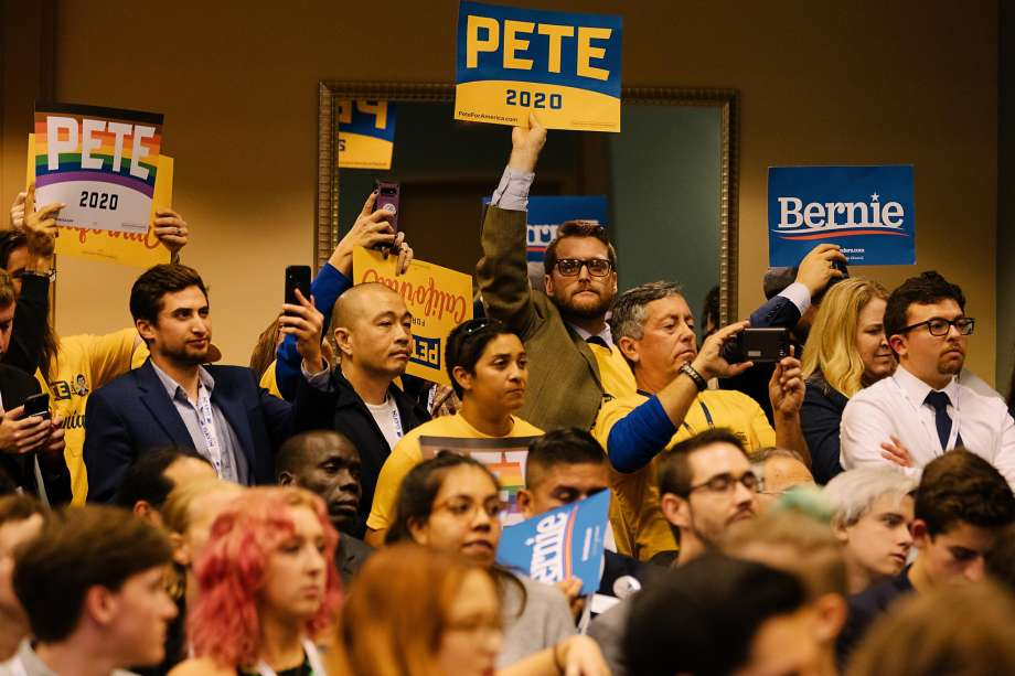 LONG BEACH, CA - NOVEMBER 16: Pete Buttigieg and Bernie Sanders supporters and others listen as Pete Buttigieg speaks to the California Young Democrats at the California Democratic Party's 2019 Fall Endorsing Convention at the Long Beach Convention Center in Long Beach, California November 16, 2019. Photo: Kendrick Brinson / Special To The Chronicle