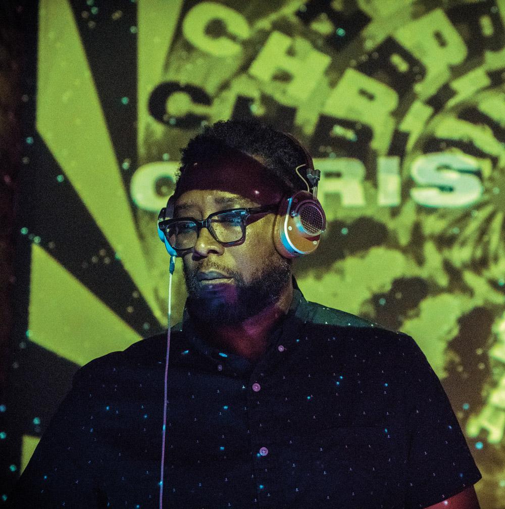Chris Devoe with headphones on