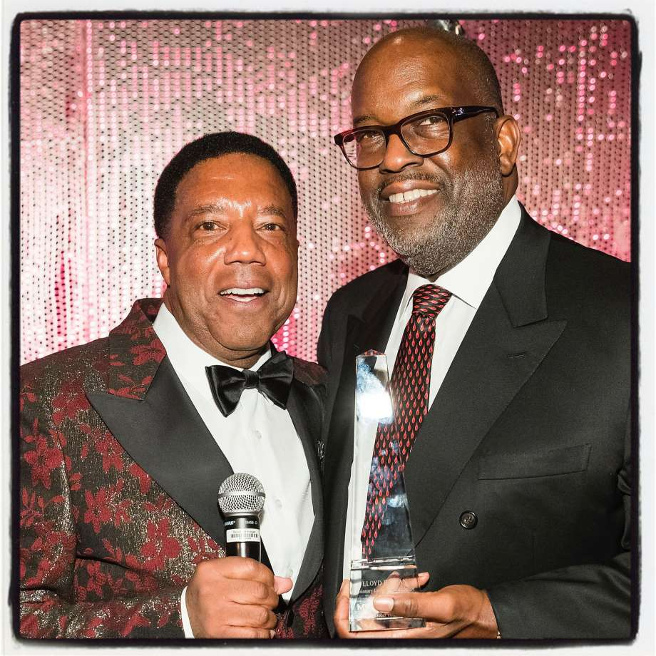 Honoree Lloyd Dean (left) and the late Bernard Tyson at MoAD's Afropolitan Ball. Oct. 19, 2019. Photo: Drew Alitzer / Drew Altizer Photography