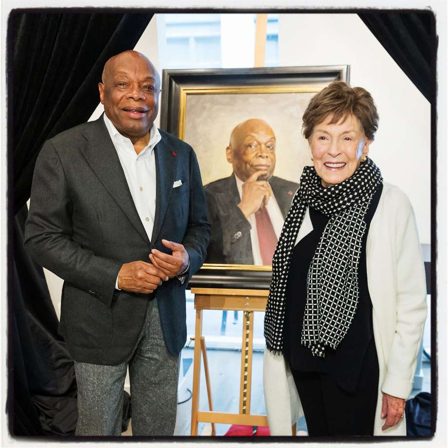 Willie Brown celebrates his portrait unveiling with former San Francisco first lady Gina Moscone. Nov. 27, 2019. Photo: Drew Altizer / Drew Altizer Photography