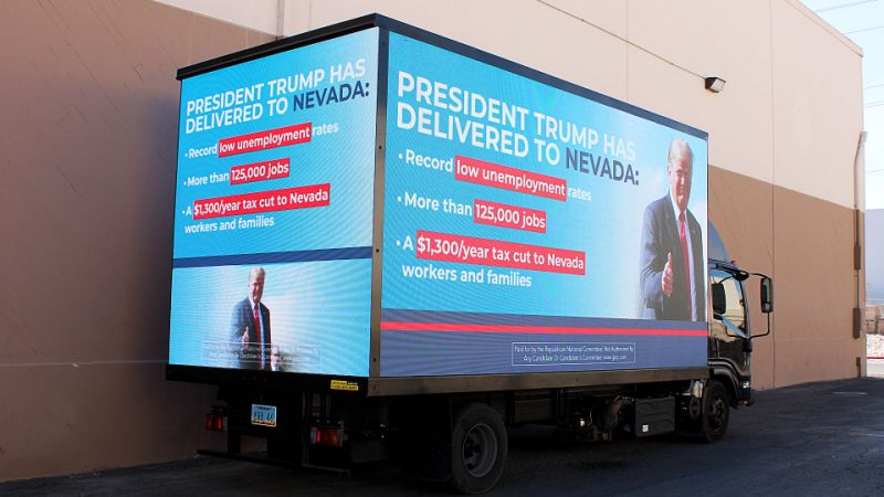 The Republican National Committee has bought a mobile billboard that will roam the Strip during tonight's Democratic debate.
