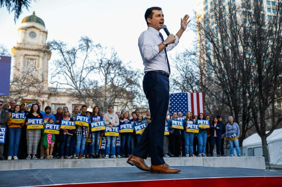 Democratic presidential candidate and former South Bend, Indiana Mayor Pete Buttigieg speaks at a campaign rally at Cesar Chavez Plaza in Sacramento, California on Friday, Feb. 14, 2020. Photo: Gabrielle Lurie, The Chronicle