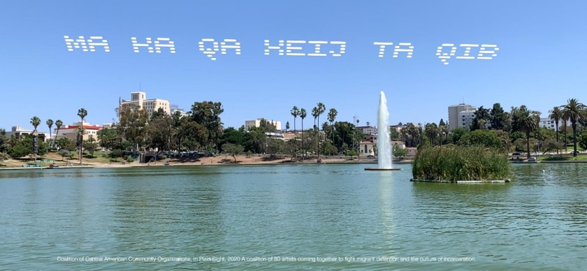 An augmented reality visualization shows skytyped words in a Mayan language over MacArthur Park