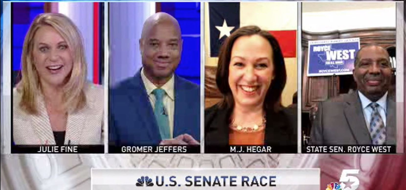 Democratic U.S. Senate candidates Texas Senator Royce West, left, and Veteran Air Force Pilot M.J. Hegar, are appearing Sunday moring at 8:30 AM on NBC5 week's Lone Star Politics with NBC5's Julie Fine and The Dallas Morning News' Gromer Jeffers. (NBC5 screen shot)