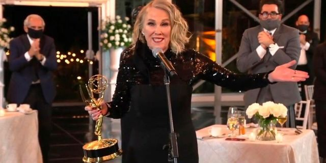 """In this video grab captured on Sept. 20, 2020, courtesy of the Academy of Television Arts & Sciences and ABC Entertainment, Catherine O'Hara accepts the award for outstanding lead actress in a comedy series for """"Schitt's Creek"""" during the 72nd Emmy Awards broadcast."""