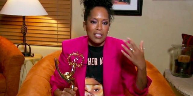 """In this video grab captured on Sept. 20, 2020, courtesy of the Academy of Television Arts & Sciences and ABC Entertainment, Regina King accepts the award for outstanding lead actress in a limited series or movie for """"Watchmen"""" during the 72nd Emmy Awards broadcast."""