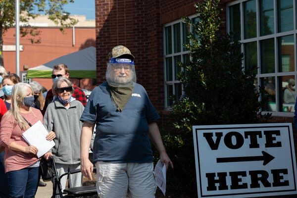 Voters waited in line to vote Thursday in Weaverville, N.C.