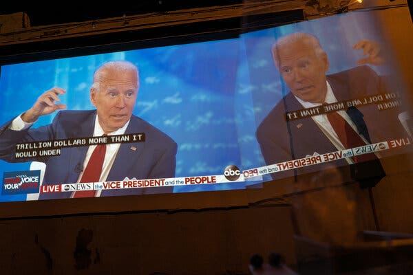 Joseph R. Biden Jr., the Democratic presidential nominee, spoke at a town hall event in Philadelphia on Thursday.