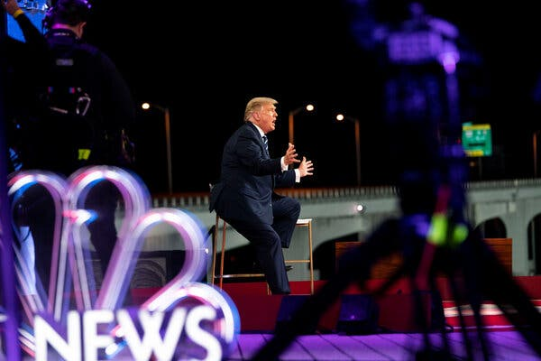 President Trump fielded questions during a telecast town hall event in Miami Thursday night.