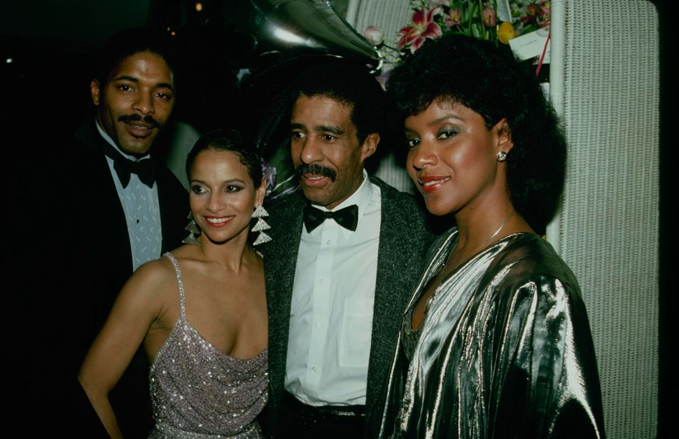 """Norm Nixon, Allen, Richard Pryor and Phylicia Rashad after the opening-night performance of Broadway's """"Sweet Charity"""" on Apr"""