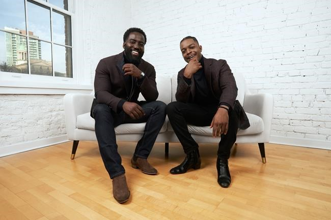 Shamier Anderson, left, and Stephan James, Co-Founders and Co-Chairs of The Black Academy, pose in this undated handout photo. When Toronto-raised actor Stephan James got the inaugural Radius Award at last year's Canadian Screen Awards, he felt incredibly honoured but also a bittersweetness. THE CANADIAN PRESS/HO, Nicole De Khors *MANDATORY CREDIT*