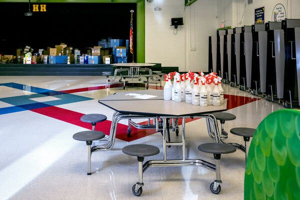 Bottles of disinfectant at Hickory Hills Elementary School in Marietta, Ga.