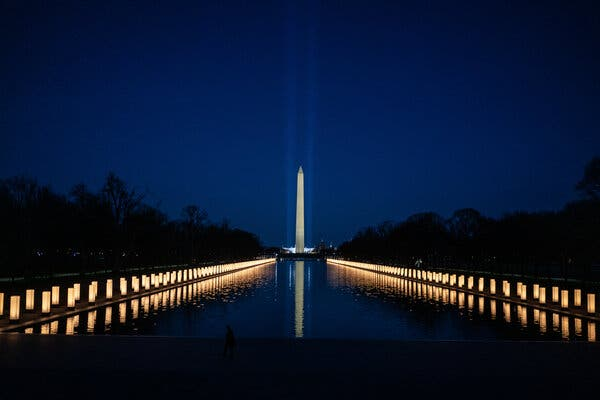 A memorial in Washington in January for the 400,000 lives lost to the coronavirus in the United States. President Biden has said that the memorial will not be the country's last.