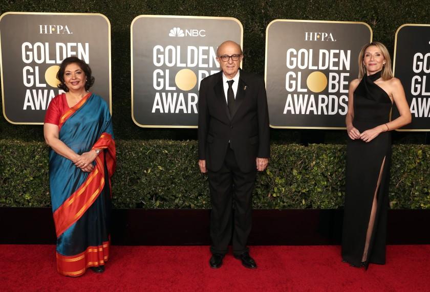 HFPA Board Chair Meher Tatna, HFPA President Ali Sar, and HFPA Vice President Helen Hoehne