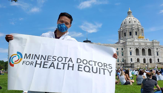Dr. Cuong Pham at a rally at the Minnesota State Capitol.