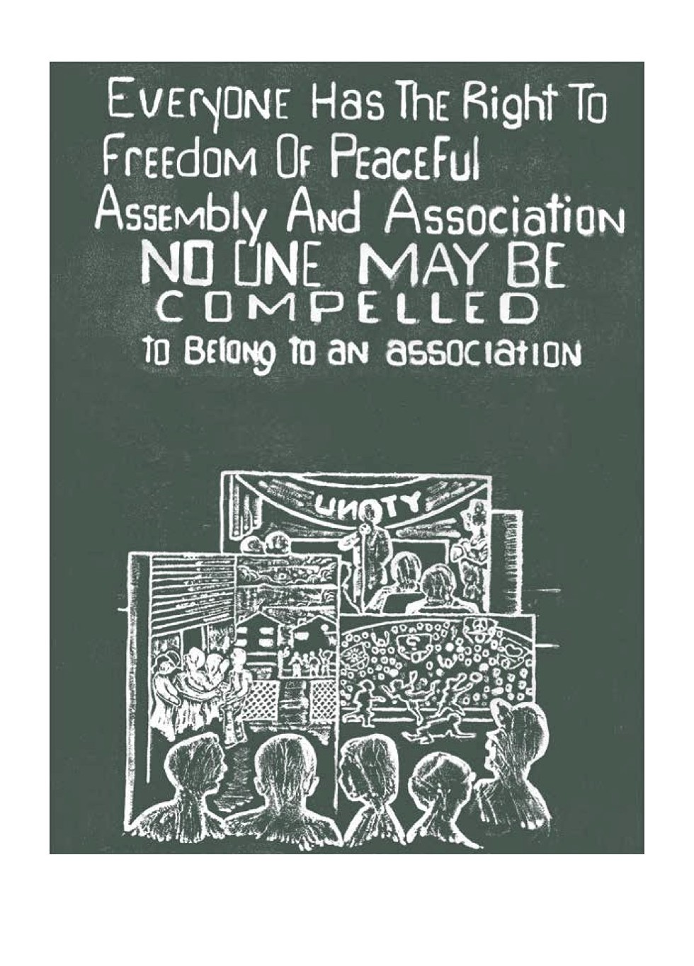 Charles McLaurin's illustration of UDHR Article 20 as seen in Carving Out Rights - CHARLES MCLAURIN/COURTESY HAT & BEARD PRESS