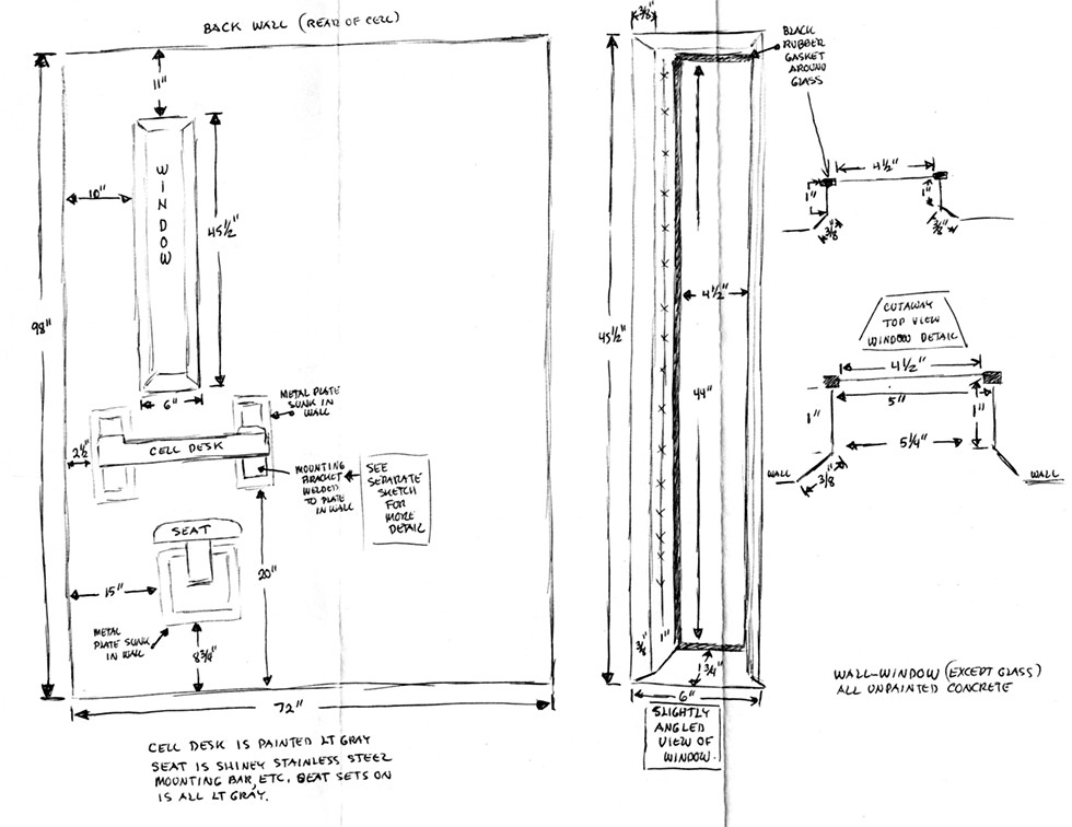 Blueprint of Angelo's prison cell featured in Prisoners' Inventions - COURTESY TEMPORARY SERVICES