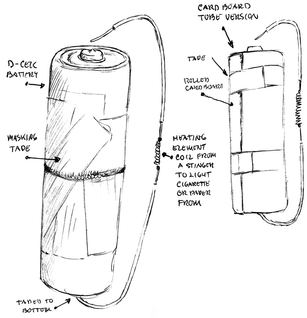 Angelo's drawing of his cigarette lighter invention - COURTESY TEMPORARY SERVICES